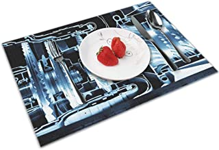 POQQ Placemats for Dining Table Jet Engine 4, Washable Easy to Clean PVC Placemat, Heat Resistand Kitchen Dinner Table Mats 12x18 Inches Set of 4