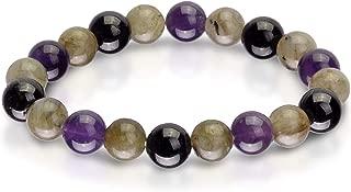 Triple Stone Ultimate Protection Bracelet – Healing Balancing – Labradorite – Amethyst – Black Tourmaline – Bracelet for Protection –Elastic Natural Stone Yoga Bracelet (10mm