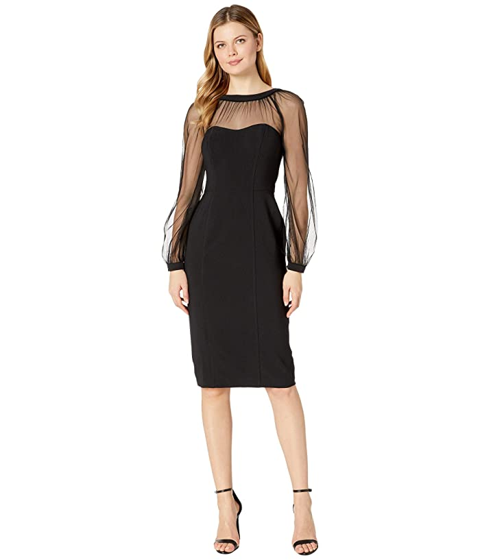 Maggy London  Mystic Crepe Cocktail Sheath with Mesh Illusion Sleeve (Black) Womens Dress