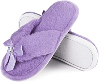 Princess Bejeweled Flip Flops for Girls, Little Big Kid Fuzzy Indoor Slippers with Soft Nonslip Rubber Sole