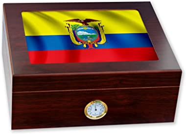 ExpressItBest Premium Desktop Humidor - Glass Top - Flag of Ecuador (Ecuadorian) - Waves Design - Cedar Lined with humidifier