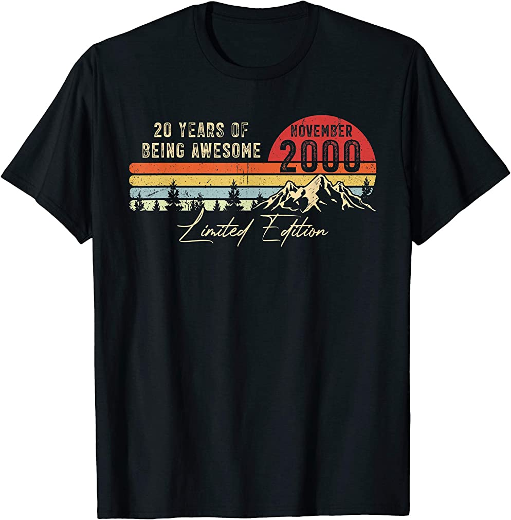 Born November 2000 20th Birthday Made In 2000 20 Years Old T-shirt