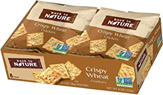 Back to Nature Crackers, Non-GMO Crispy Wheat, 1 Ounce Grab & Go Bags, 100 Count (Packaging May Vary)
