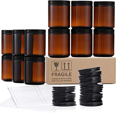 12 Pack, 8 OZ Amber Round Glass Jars with 12 Metal Lids & 12 Plastic Lids - Empty Candle Jar, Food Storage Containers, Canning Jar For Spice, Powder, Liquid, Sample - Leakproof & Dishwasher Safe