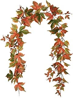 Lvydec 2 Pack Fall Maple Garland - 6.5ft/Piece Artificial Fall Foliage Garland Autumn Decor for Home Wedding Party