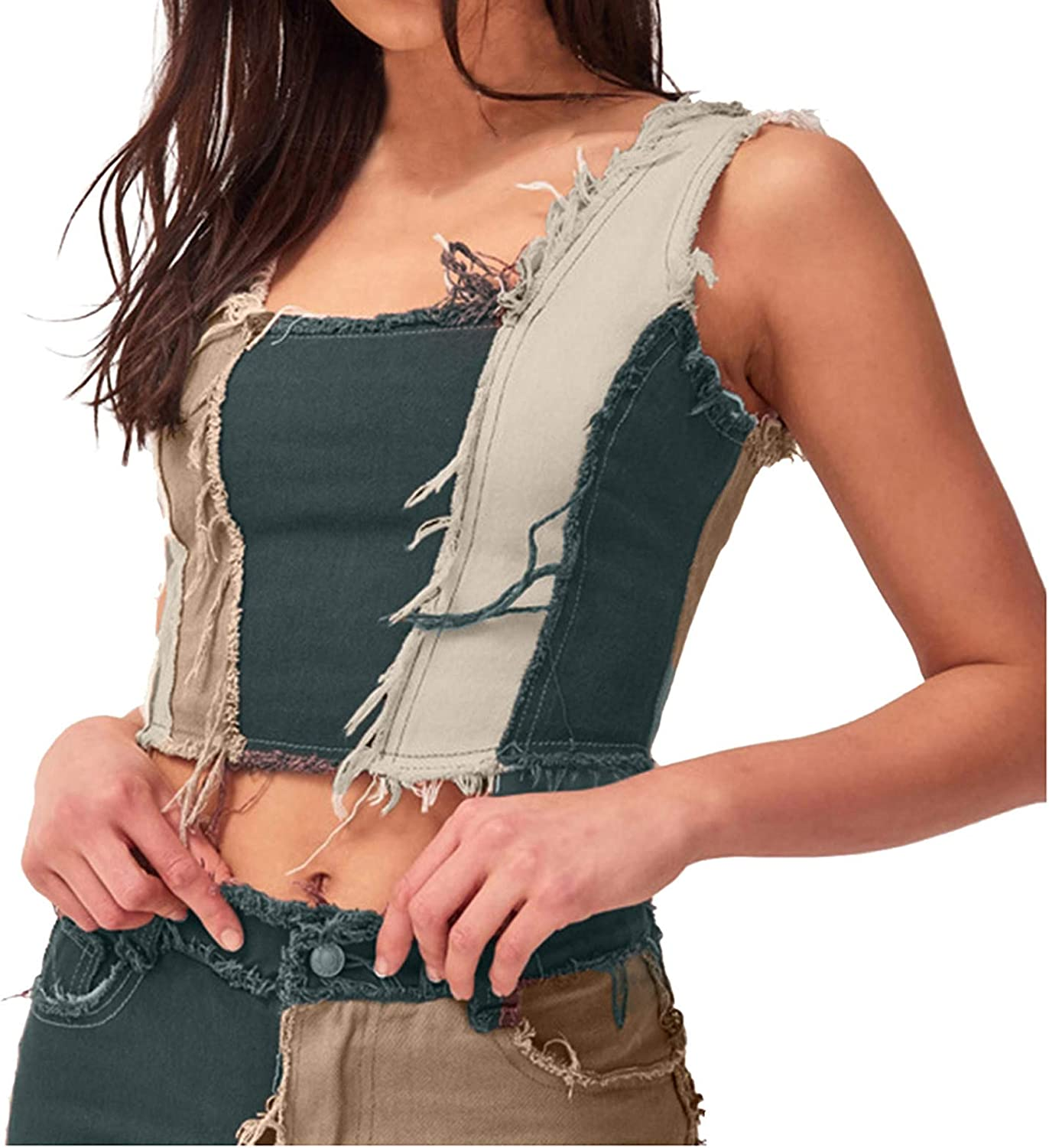 VEKDONE Womens Vintage Denim Crop Top Jeans Corset Top Patchwork Camisole Sleeveless Distressed Motocycle Streetwear