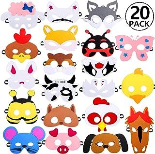 Rymall Mascaras Animales para Niños, 20 PCS Máscaras de Fiesta Máscaras de Cosplay Ideal para Festivales, Fiestas y El Regalo de Cumpleaños
