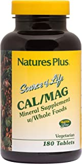 NaturesPlus Source of Life Cal/Mag Mineral Supplement- 500 mg Calcium, 250 mg Magnesium, 180 Vegetarian Tablets - Whole Fo...
