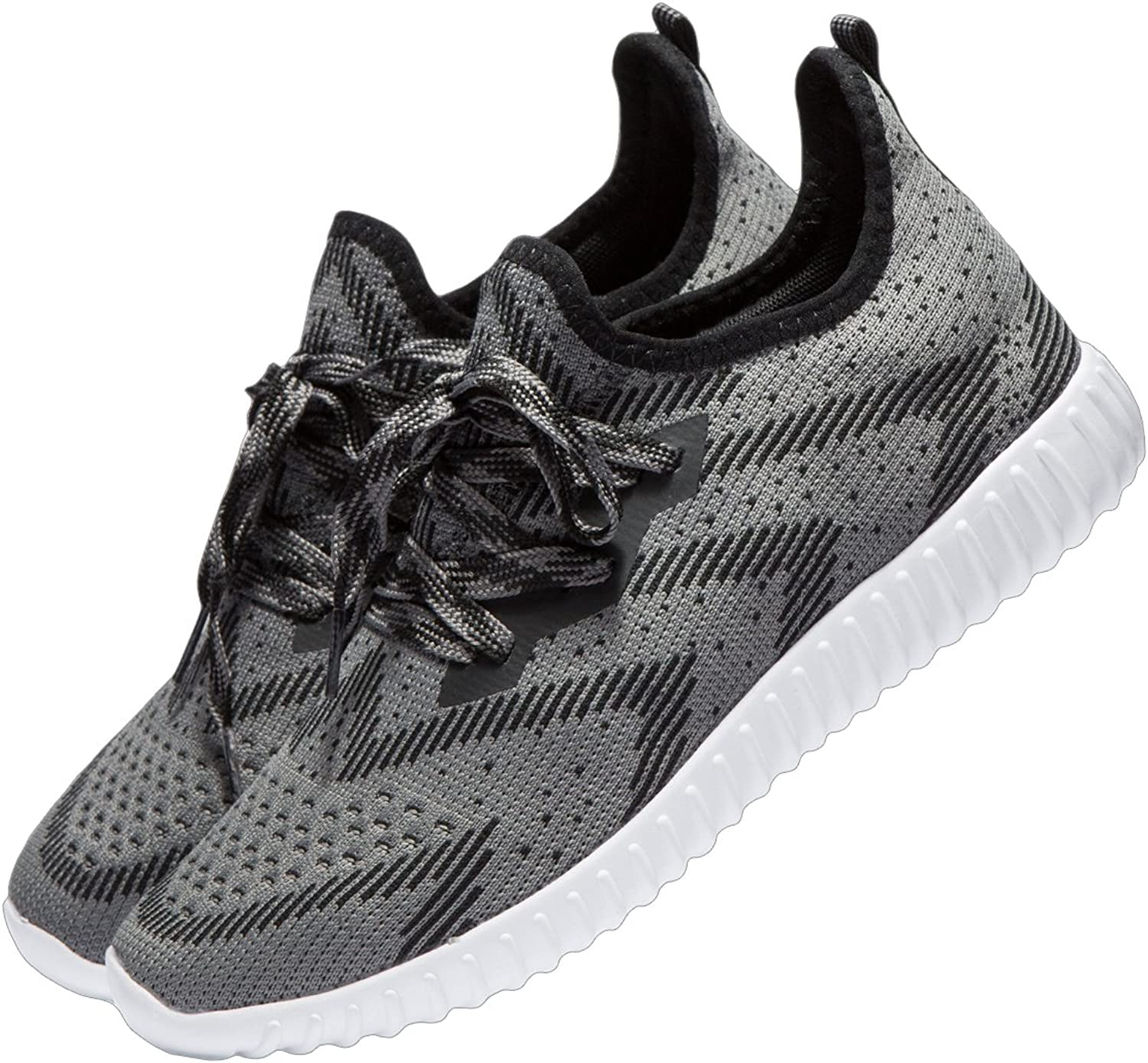 YHOON Men's Knit Sports Running shoes Lace up Athletic shoes
