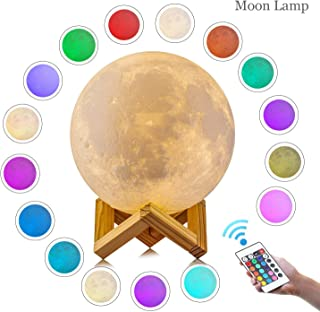 Moon Lamp, ZHIKE 3D Print LED 16 Colors RGB Moon Light, 2018 Favorite Valentines Gifts Decorative Lights, Night Light with Remote&Touch Control and Adjustable Brightness&USB Recharge.(5.9 inch)