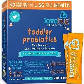 Lovebug Probiotic and Prebiotic for Kids, 15 Billion CFU, for Children 12 Months to 4..