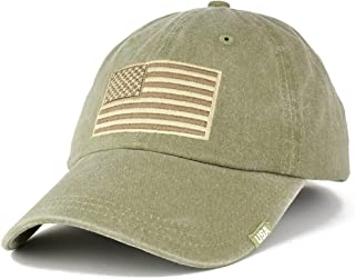 Armycrew USA Flag Embroidered Cotton Washed Low Profile Adustable Cap