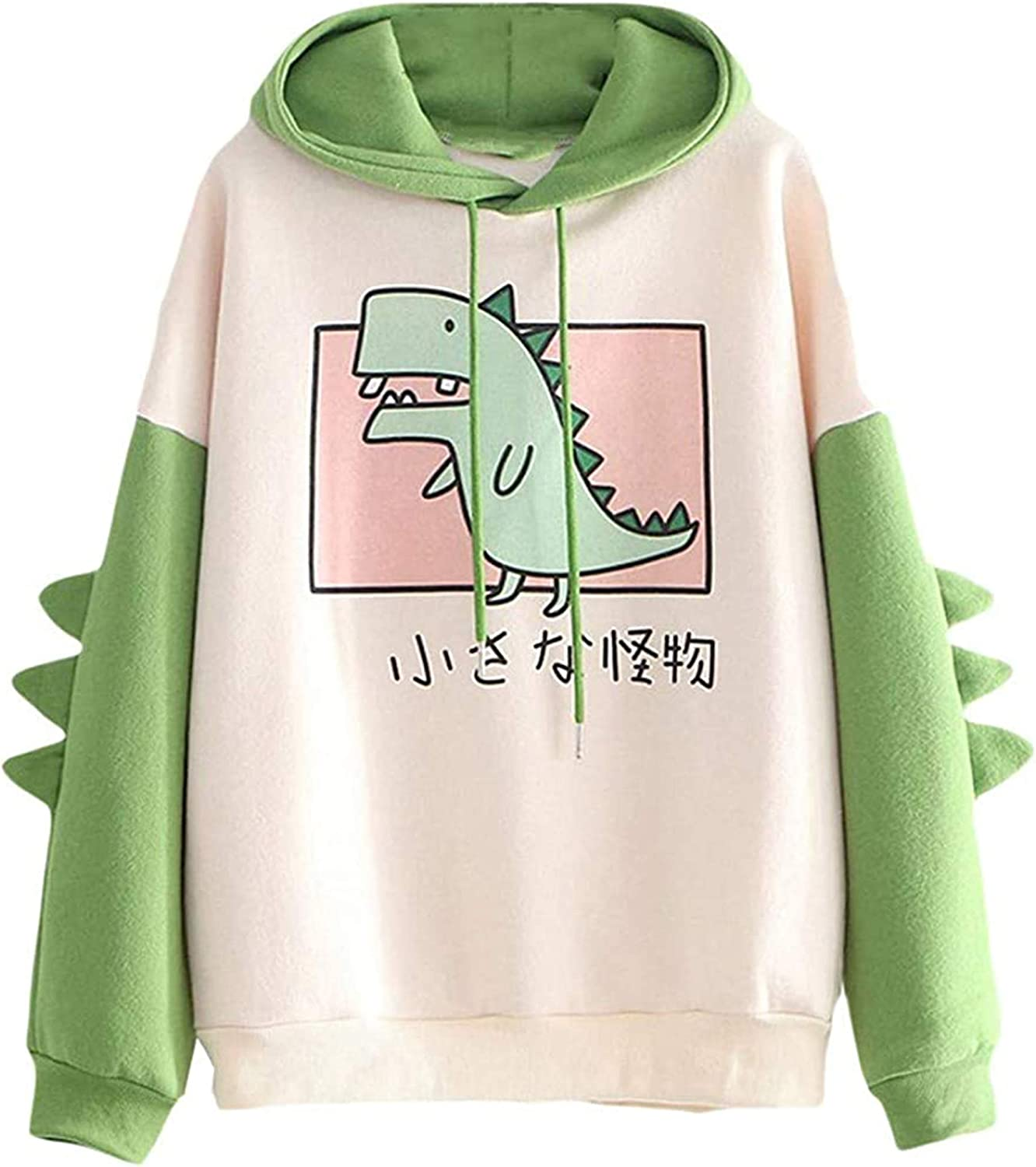 Lvswebe Womens//Girls Cute Dinosaur Hoodie Pullover Hooded Sweatshirt with Large Front Pocket Black Small