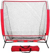 Red de práctica de béisbol y softbol Red de rebote neta de práctica de béisbol de 5 pies con agujero for niños Bloque de entrenamiento de red de béisbol Esposas de red portátil para golpear, fotografi