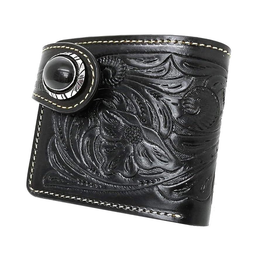 蜂膨らませるなにDays Art(デイズアート)牛革2つ折り財布 フラワーカービング レザーウォレット ショートウォレット ブラック