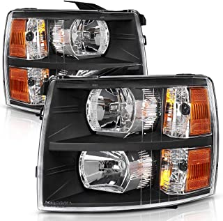 Headlight Assembly Kit for 2007 2008 2009 2010 2011 2012 2013 2014 Chevy Silverado 1500HD 2500HD 3500HD,Headlamp Replacement Black Housing Amber Reflector for Driver and Passenger Side