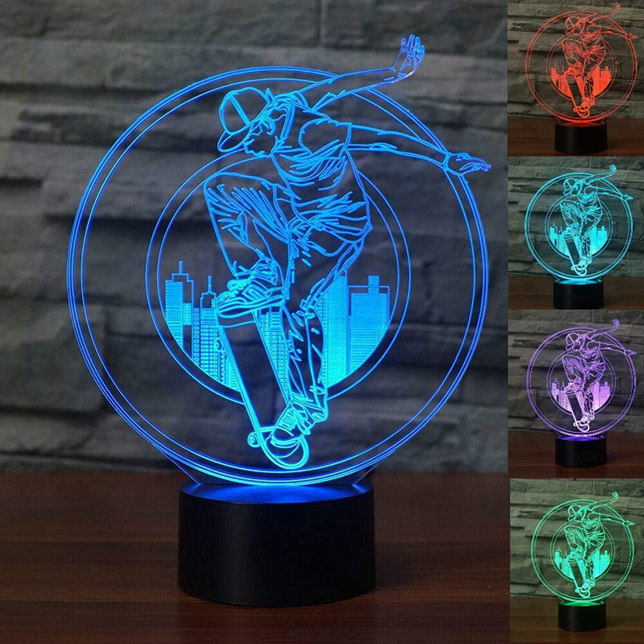 3D Skateboard Night Light Table Lamp Decor Table Desk Optical Illusion Lamps 7 Color Changing Lights LED Table Lamp Xmas Home Love Brithday Children Kids Decor Toy Gift