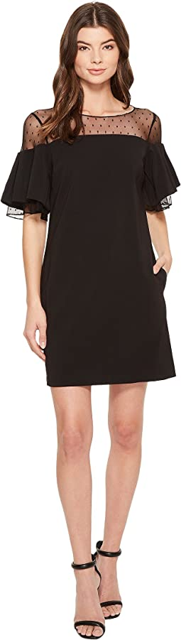 Badgley Mischka - Bell Sleeve Sack Dress w/ Swiss Dot