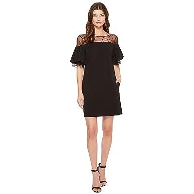 Badgley Mischka Bell Sleeve Sack Dress w/ Swiss Dot (Black) Women
