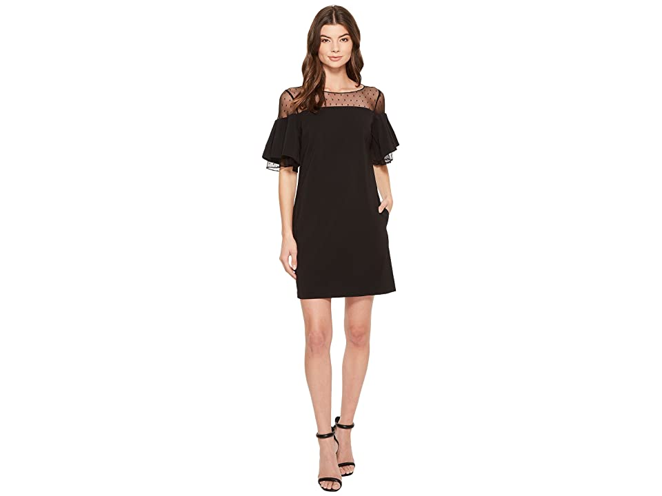 Badgley Mischka Bell Sleeve Sack Dress w/ Swiss Dot (Black) Women