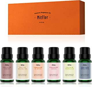 Fragrance Oils Set, MitFlor Premium Aromatherapy Scented Oils for Candle Soap Making, Strawberry Cookies, Roasted Oolong, ...