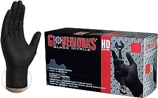AMMEX Gloveworks HD ニトリル手袋 ダイヤモンドテクスチャード グリップ付き ラテックスフリー パウダーフリー 使い捨て手袋 工業用 作業用 GWBN44100-BX (1箱100枚入り, 0.15mm, ブラック) (M)