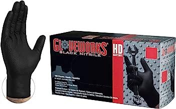 GLOVEWORKS HD Industrial Black Nitrile Gloves - 6 mil, Latex Free, Powder Free, Diamond Texture, Disposable, Xlarge, GWBN48100-BX, Box of 100