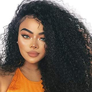 Dolago 360 Lace Frontal Wig Deep Curly for Black Women, Glueless 180% Density 360 Lace Front Wig Brazilian Virgin 100% Human Hair Wigs Pre Plucked with Baby Hair Natural Color(Deep Curly, 16inch)