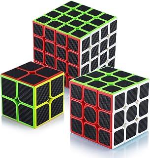 Maomaoyu Speed Cube Ensemble 2x2+3x3x3+4x4x4 3 Pack Puzzle TwistMagic Cube Fibre de Carbone Autocollant Cube de Vitesse M...