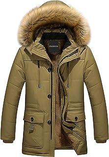 LSSM Piumino Invernale da Uomo con Collo di Pelliccia di Media Lunghezza E Piumino con Cappuccio in Pile Outwear Abbigliam...