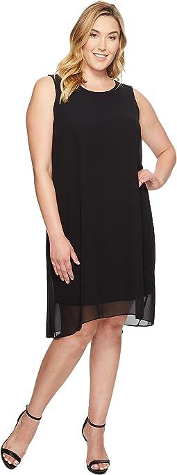 Plus Size Sleeveless Chiffon Overlay Dress