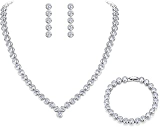 Clearine Women's Wedding Bridal Cubic Zirconia Multi Round Cut Disc Collar Necklace Tennis Bracelet Dangle Earrings Set Clear Silver-Tone