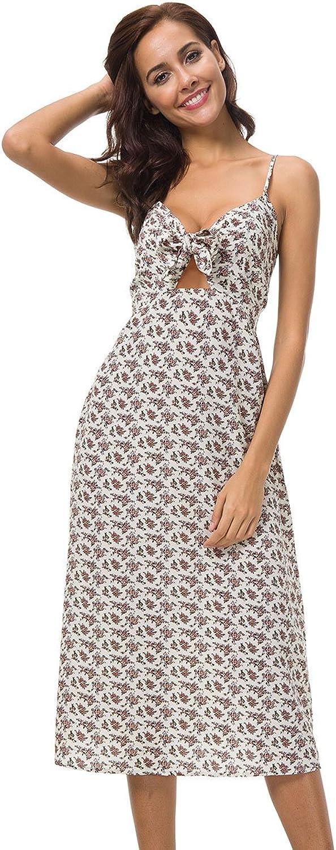 Womens Dresses Summer Tie Front VNeck Spaghetti Strap Button Down ALine Backless Swing Midi Dress