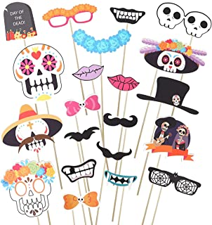 Amosfun Day of the Dead - Halloween Sugar Skull Photo Booth Props Kit 21 PCS Mexican Photo Prop All Souls Day Photo Props Favors Day of The Dead Photo Props Supplies