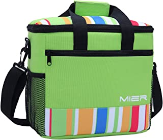MIER 24 Can Large Capacity Soft Cooler Tote Insulated Lunch Bag Green Stripe Outdoor Picnic Bag