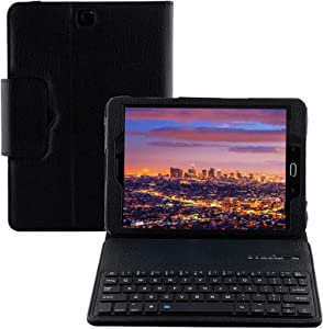 SM-T810 / T815 / T813 Keyboard Case for Samsung Galaxy Tab S2 9.7, YMH Detachable Magnetic Removable Wireless Bluetooth Smart Keyboard Cover Protective Stand Book Folio Slim Fit PU Leather (Black)