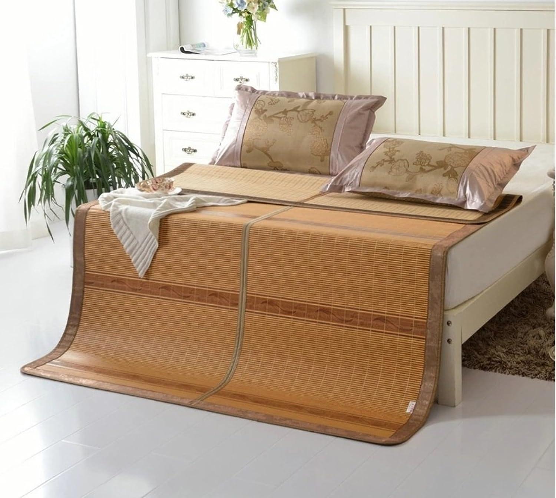 Summer Folding Mat Student Bamboo Mat 1.5 Meters 1.8 Meters Mattress Pad Cloth ZXCV (Size   135  195cm)