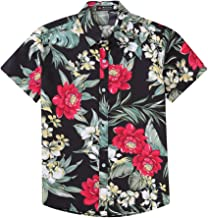 Xuba Men Women Summer Casual Flower Printing Couples Short Sleeve Shirt