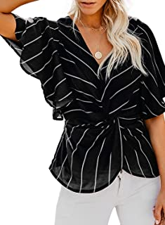 9eb2118f5f Women s Floral Print Short Sleeve V Neck Chiffon Shirt Bat Sleeve Ruched  Twist Top Loose Casual