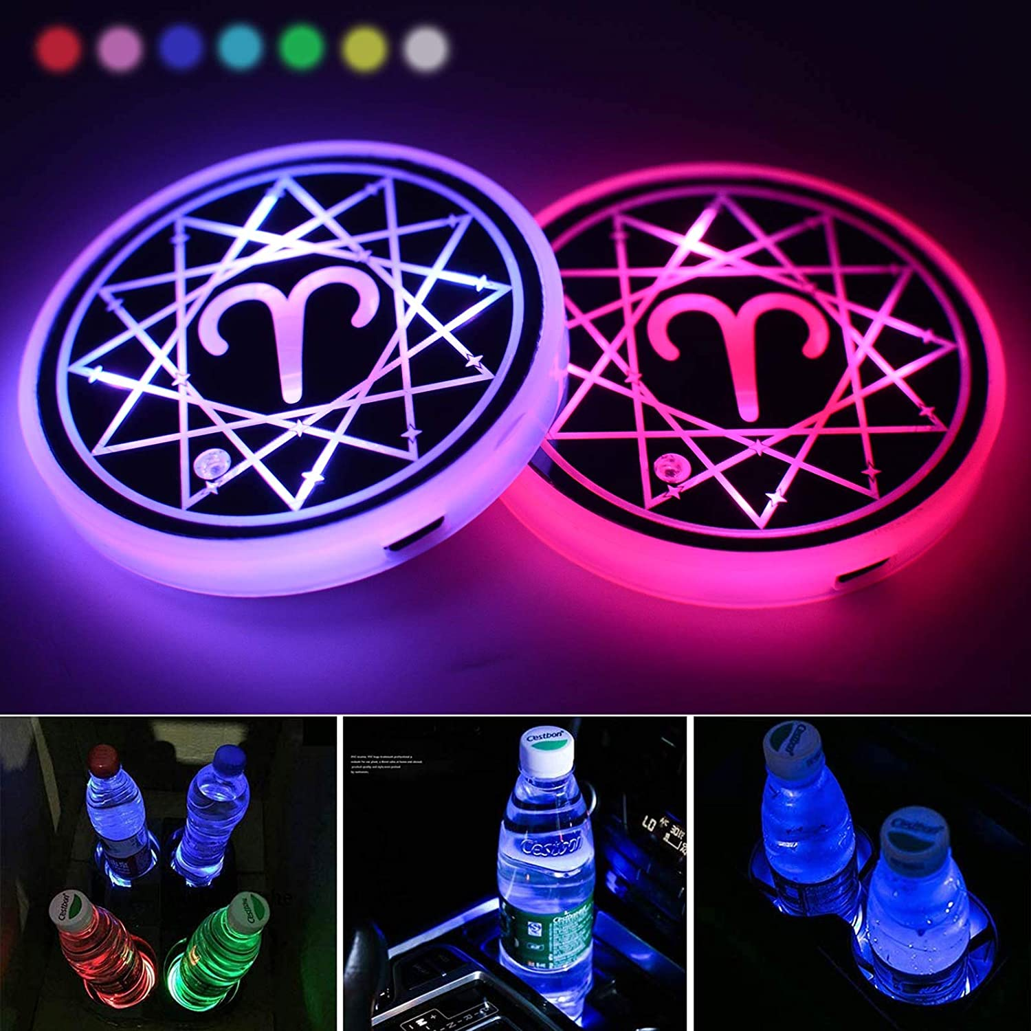Luminescent Constellation Cup Pad Interior Atmosphere Lamp Decoration Light Sagittarius LED Cup Holder Lights,Sagittarius Car Cup Holder Coaster for Car with 7 Colors Changing USB Charging Mat