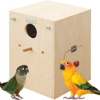 PetNest® Breeding Box Bird Nest House with Perch for Conure Bird Standard with Dual Side Door