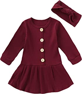 HAPPYMA Toddler Baby Girls Clothing Solid Color Cotton Button Skirt Fall Dress Long Sleeve Skirt Outfits