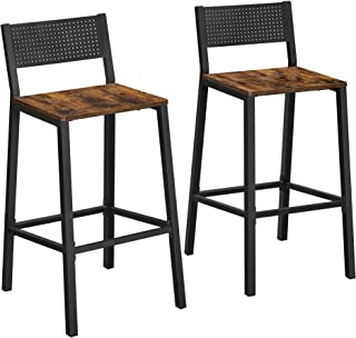 VASAGLE Bar Stools,Set of 2 Bar Chairs,Tall Bar Stools with Backrest,Industrial in Party Room,Rustic Brown and Black ULBC0...