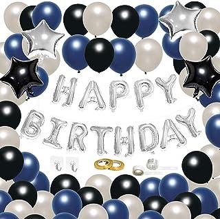 CiciBear 71 Pcs Navy Blue Themed Birthday Decoration Balloons Kit, Silver Banner: Happy+Birthday Letter Balloons, Pearl La...