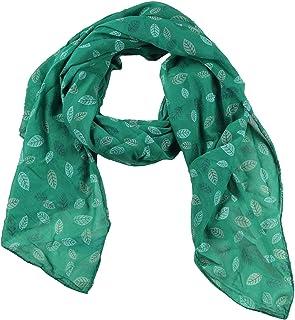 Zwillingsherz Seiden-Tuch Damen mit Blätter Muster - Made in Italy - Eleganter Sommer-Schal für Frauen - Hochwertiges Seidentuch/Seidenschal - Halstuch und Chiffon-Stola Dezent Stilvoll