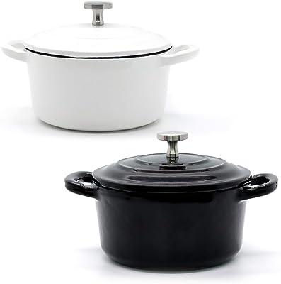 RJ Legend 8.5 oz Othello-Colored Cast Iron Pot, Enameled Cast Iron Mini Pot, Round Mini Cocotte, Cast Iron Set 2-Piece Black and White Cast Iron Set, 5.5-Inch Cast Iron Pot with Lid