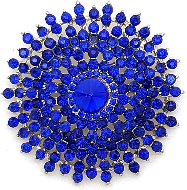 Fashion 21 Women's Statement Piece Elegant Crystal Rhinestone Flower Bubble Brooch Pin