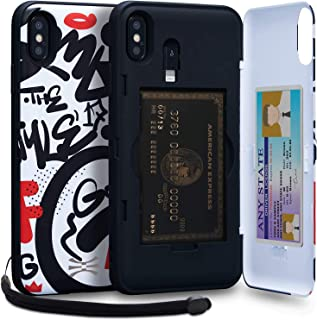 TORU CX PRO iPhone Xs Max Wallet Case Pattern Colorful with Hidden Credit Card Holder ID Slot Hard Cover, Strap, Mirror & ...