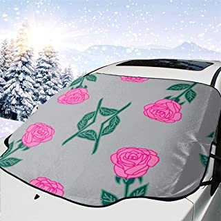 DkhhE Ink Roses Fabric Pink and Grey Rose Fabric Andrea Windshield Sun Shade Car - Leader Accessories