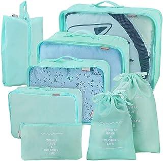 8 Set de Organizador de Equipaje, Impermeable Organizador de Maleta Bolsa para Ropa Sucia de Viaje,Cubos de Embalaje para Viaje(azul claro)